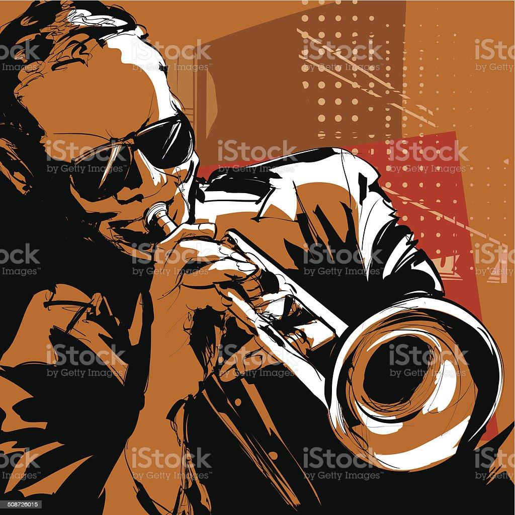 Jazz trumpet player vector art illustration