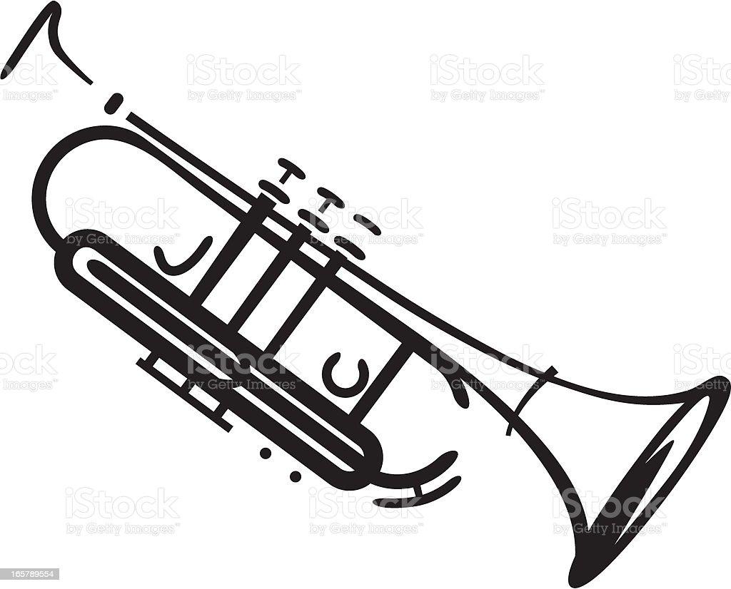 jazz trumpet vector art illustration