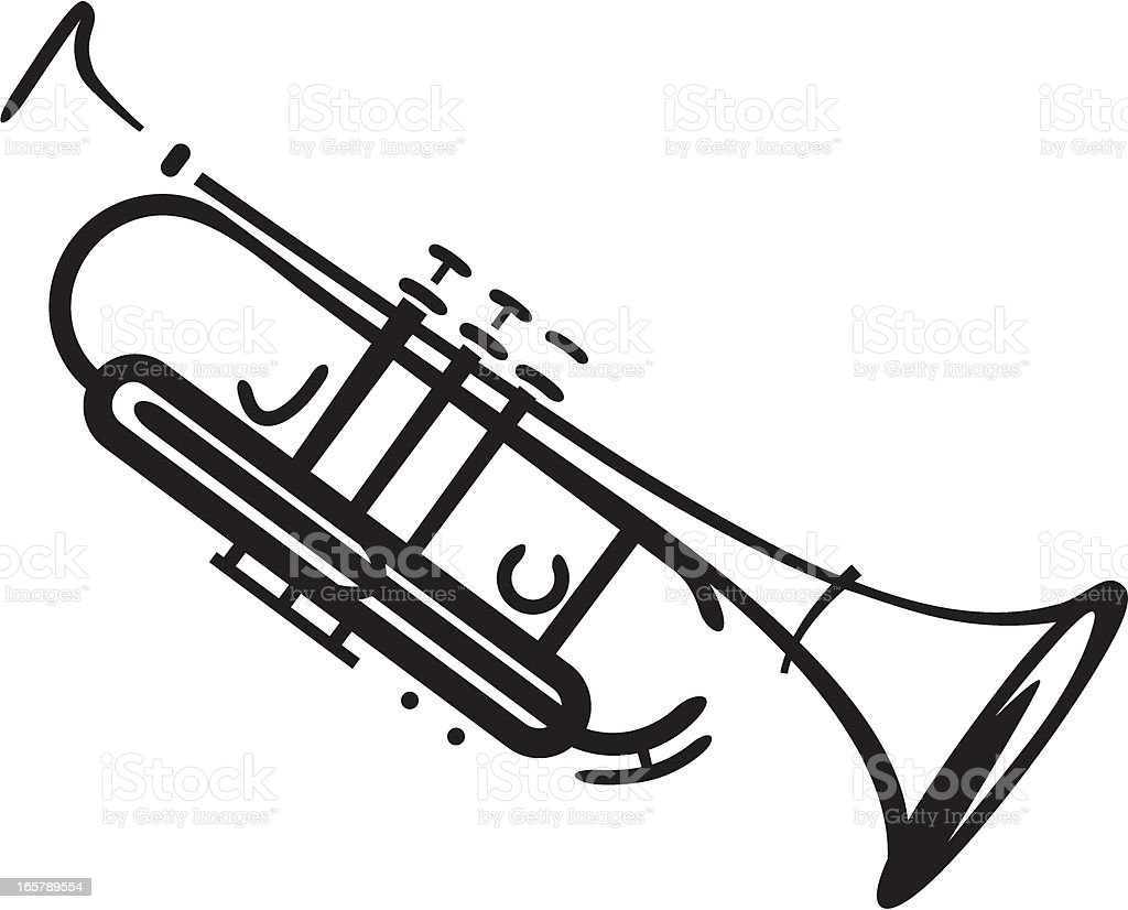 jazz trumpet vector art illustration