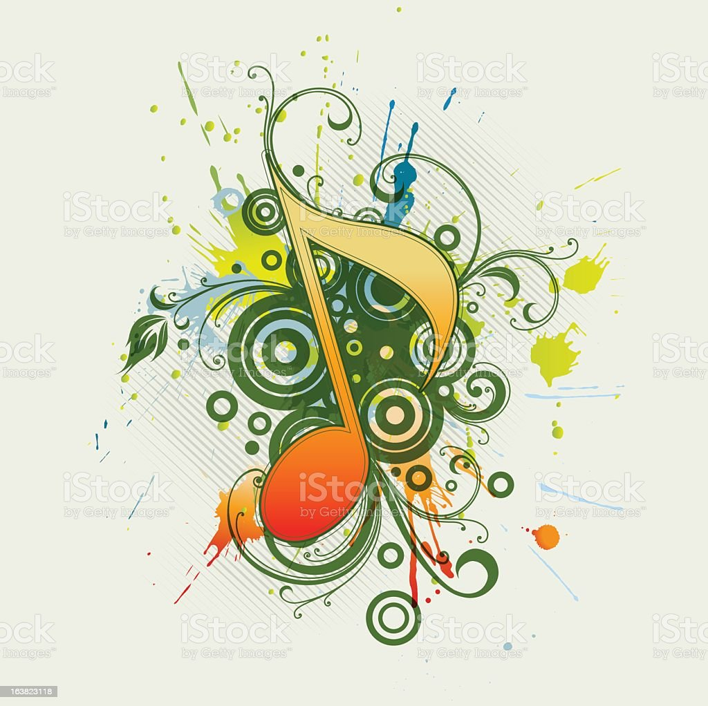 Jazzy musical note on panomic green design royalty-free stock vector art
