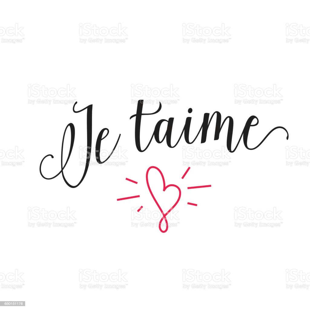 Je taime lettering with shining heart vector art illustration