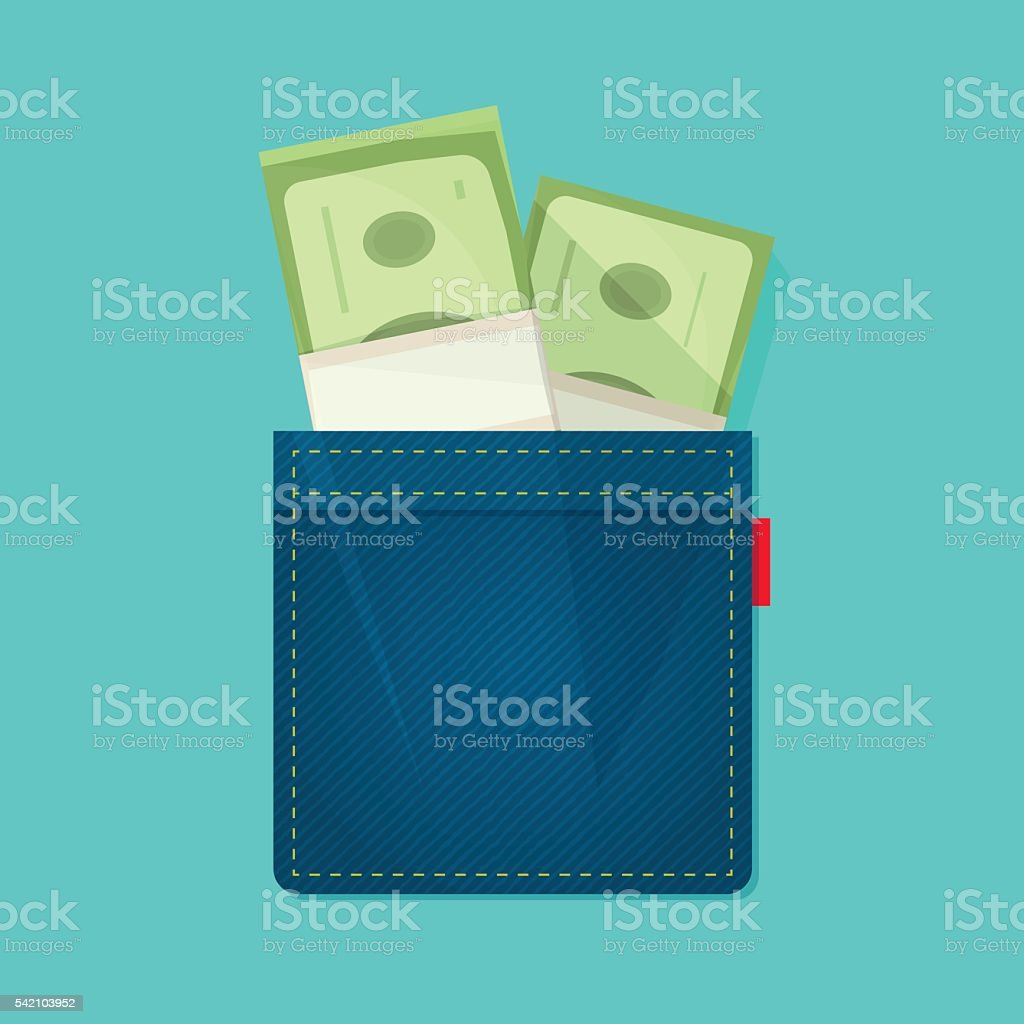 Jeans pocket with pile of money, salary concept, income, expenses vector art illustration