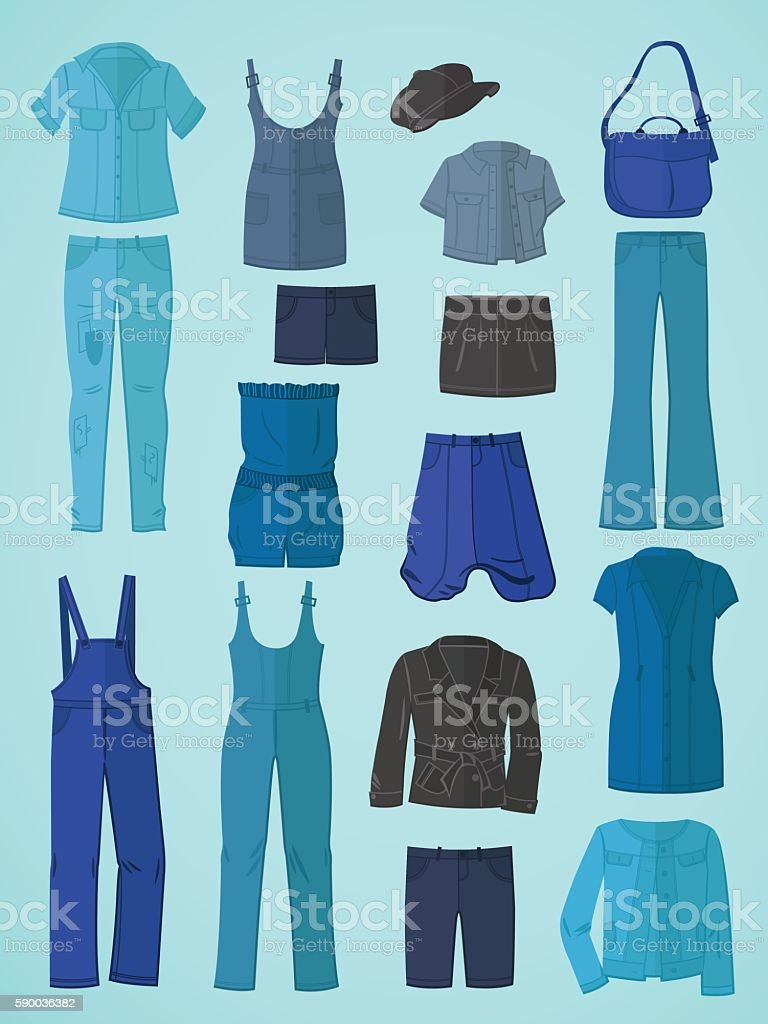 Jeanswear in flat design vector art illustration