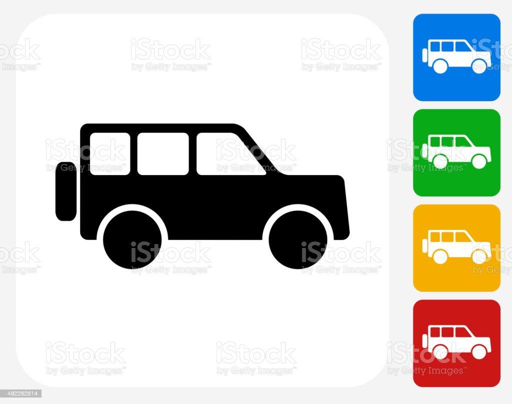 Jeep Icon Flat Graphic Design vector art illustration