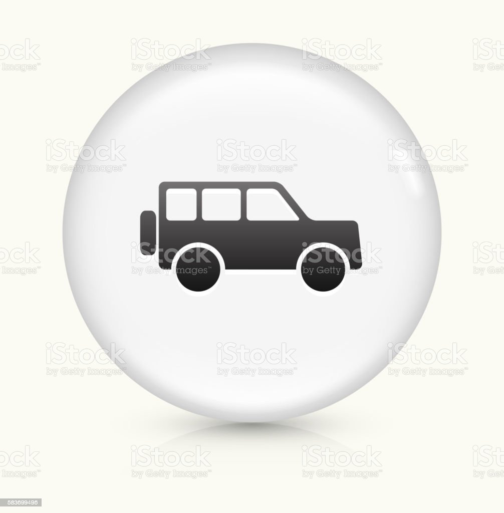 Jeep icon on white round vector button vector art illustration