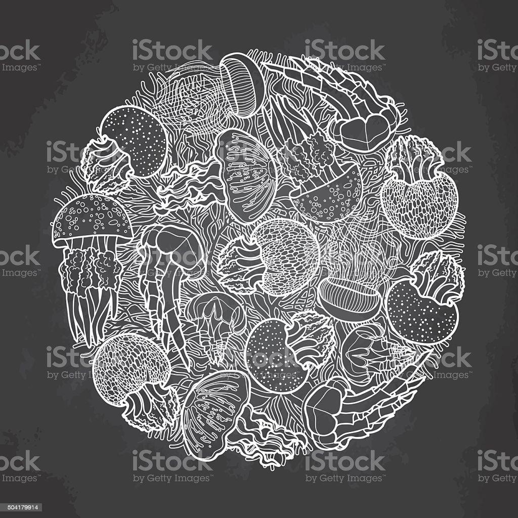 Jellyfish circle design vector art illustration