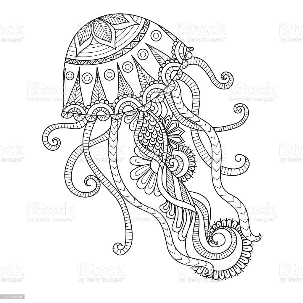 Coloring Pages Of Abstract Animals : Jellyfish coloring page stock vector art istock
