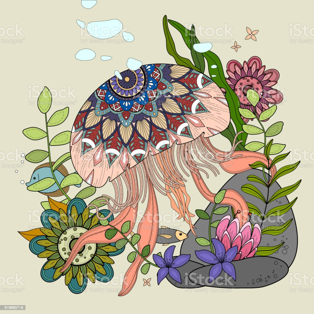 jellyfish floating in ocean vector art illustration