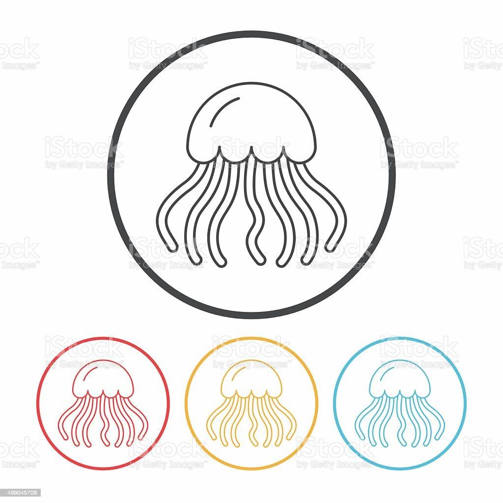 jellyfish line icon vector art illustration
