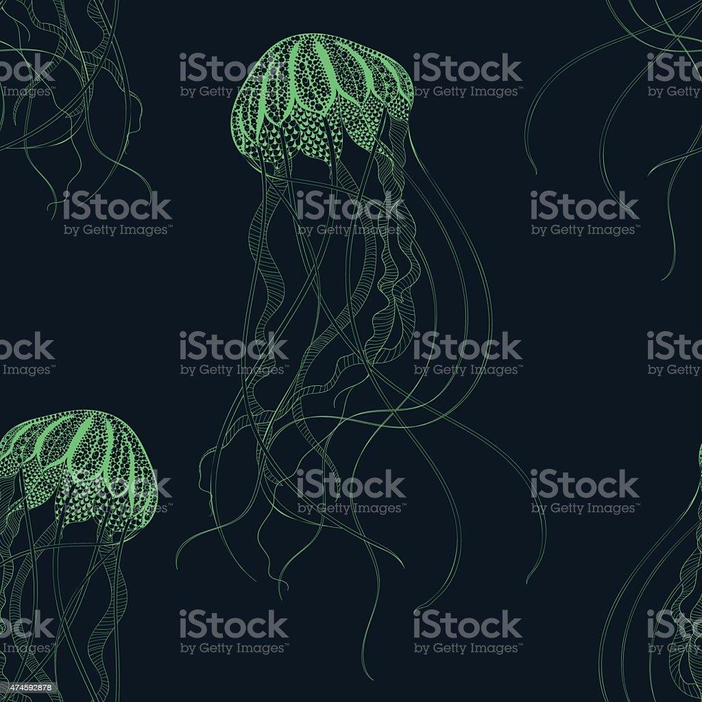 Jellyfish seamless pattern. Hand Drawn vector vector art illustration