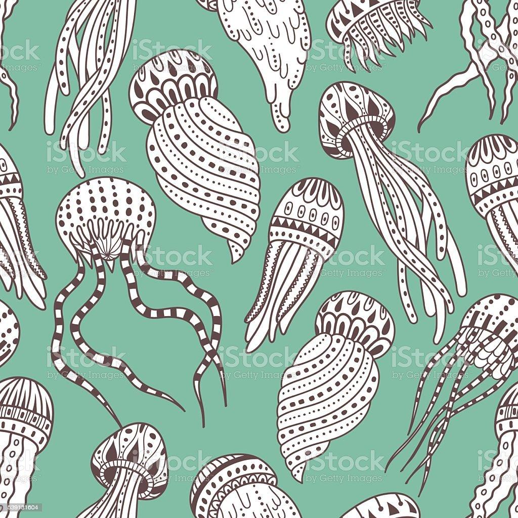 Jellyfishes seamless pattern vector art illustration