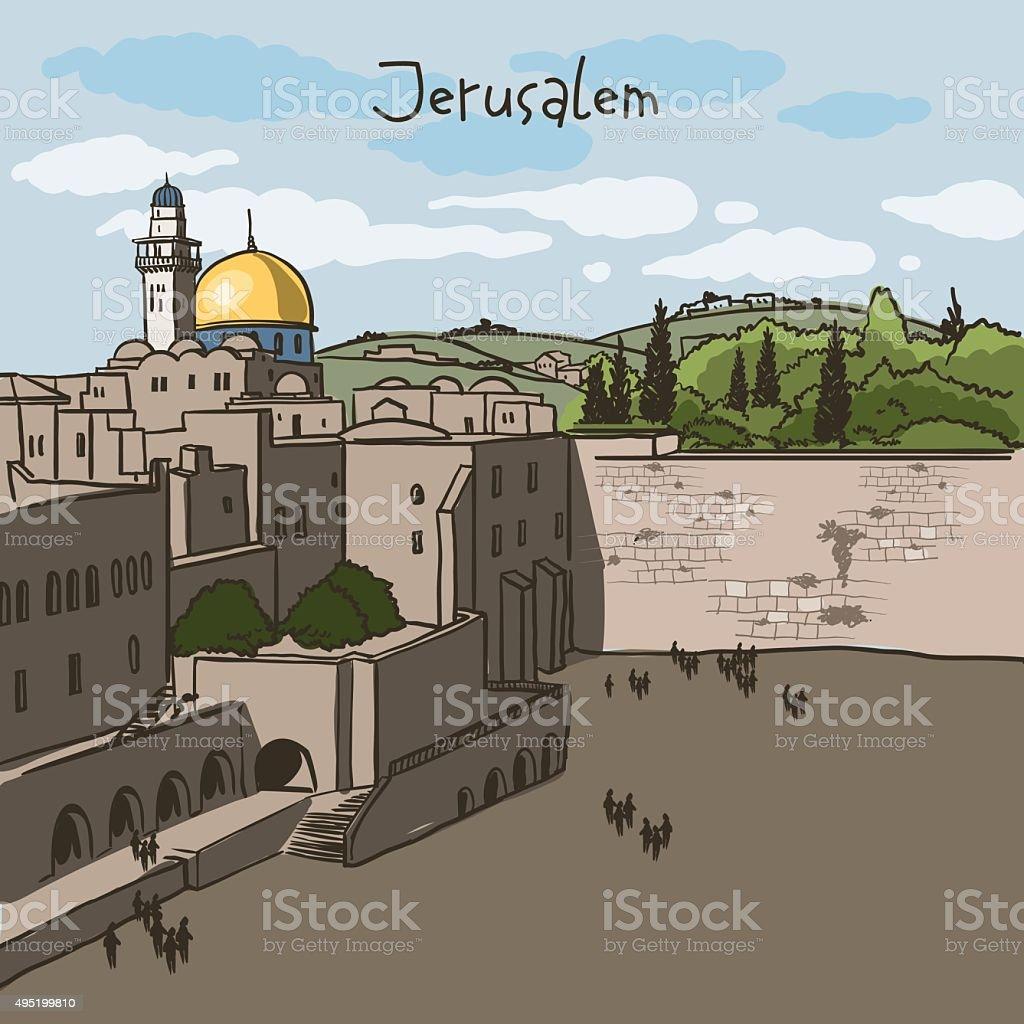 Jerusalem, Israel old city skyline vector art illustration