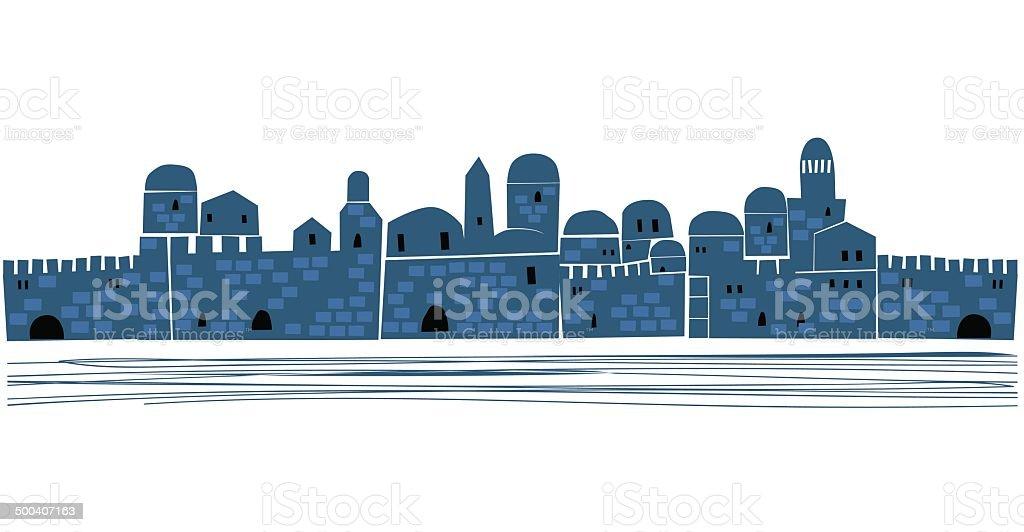 Jerusalem, Old City Silhouette At Dusk royalty-free stock vector art