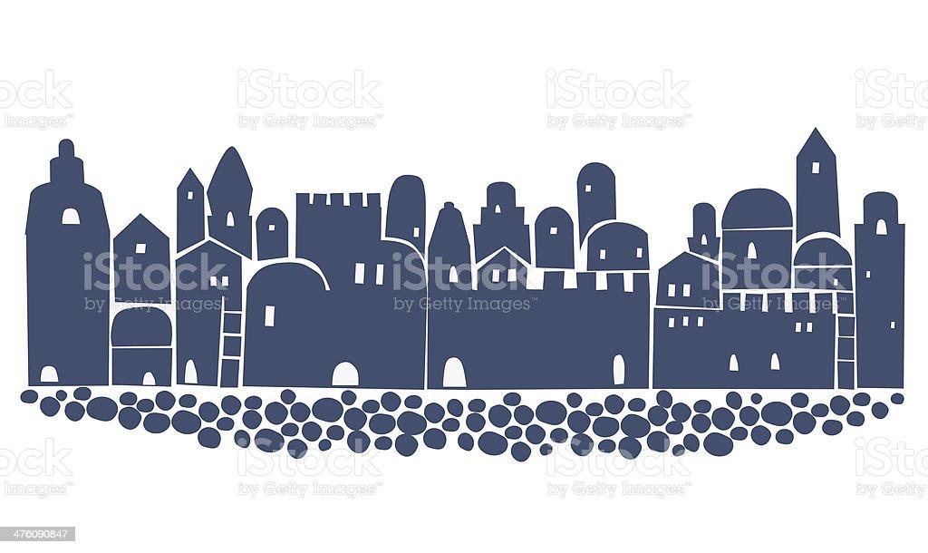 Jerusalem, Old City Silhoutte vector art illustration