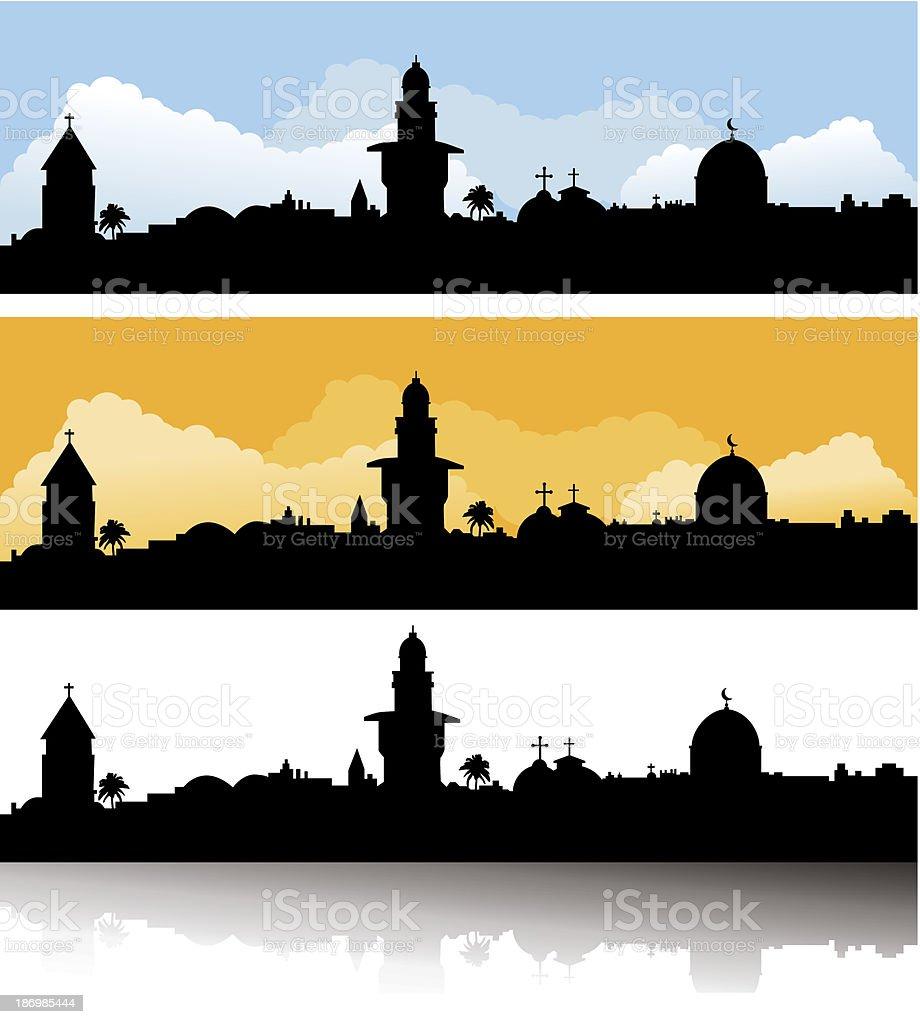 Jerusalem skyline day, evening and mirror vector art illustration