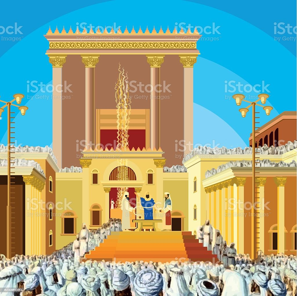 Jerusalem Temple. A scene of  Jewish King long ago in vector art illustration