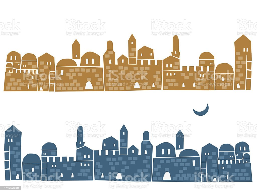 Jerusalem, the Old City At Day and Night vector art illustration