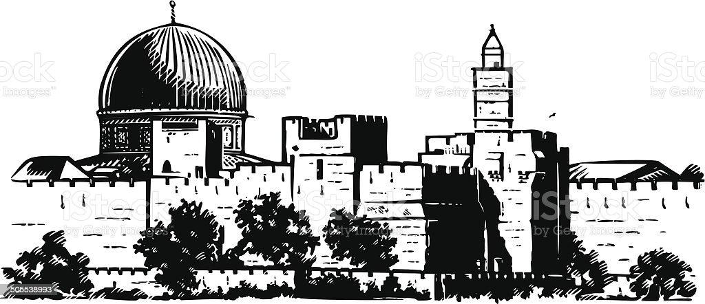 Jerusalem wall vector art illustration