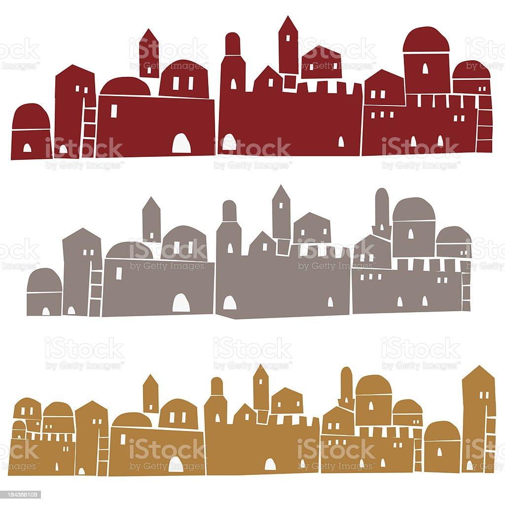 Jerusalem Walls vector art illustration