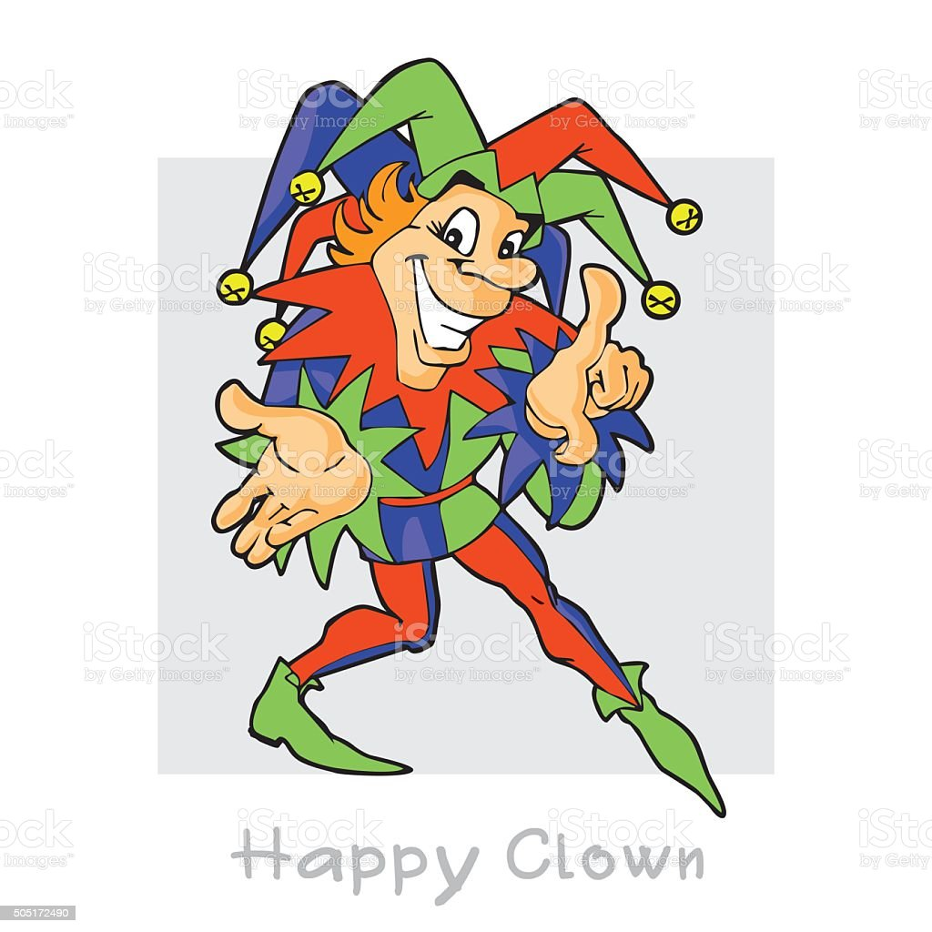 Jester. Crafty cheerful clown. vector art illustration