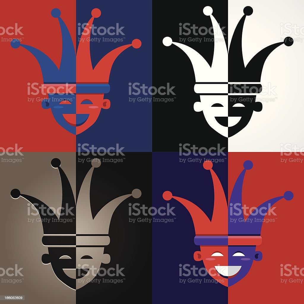 Jester faces royalty-free stock vector art
