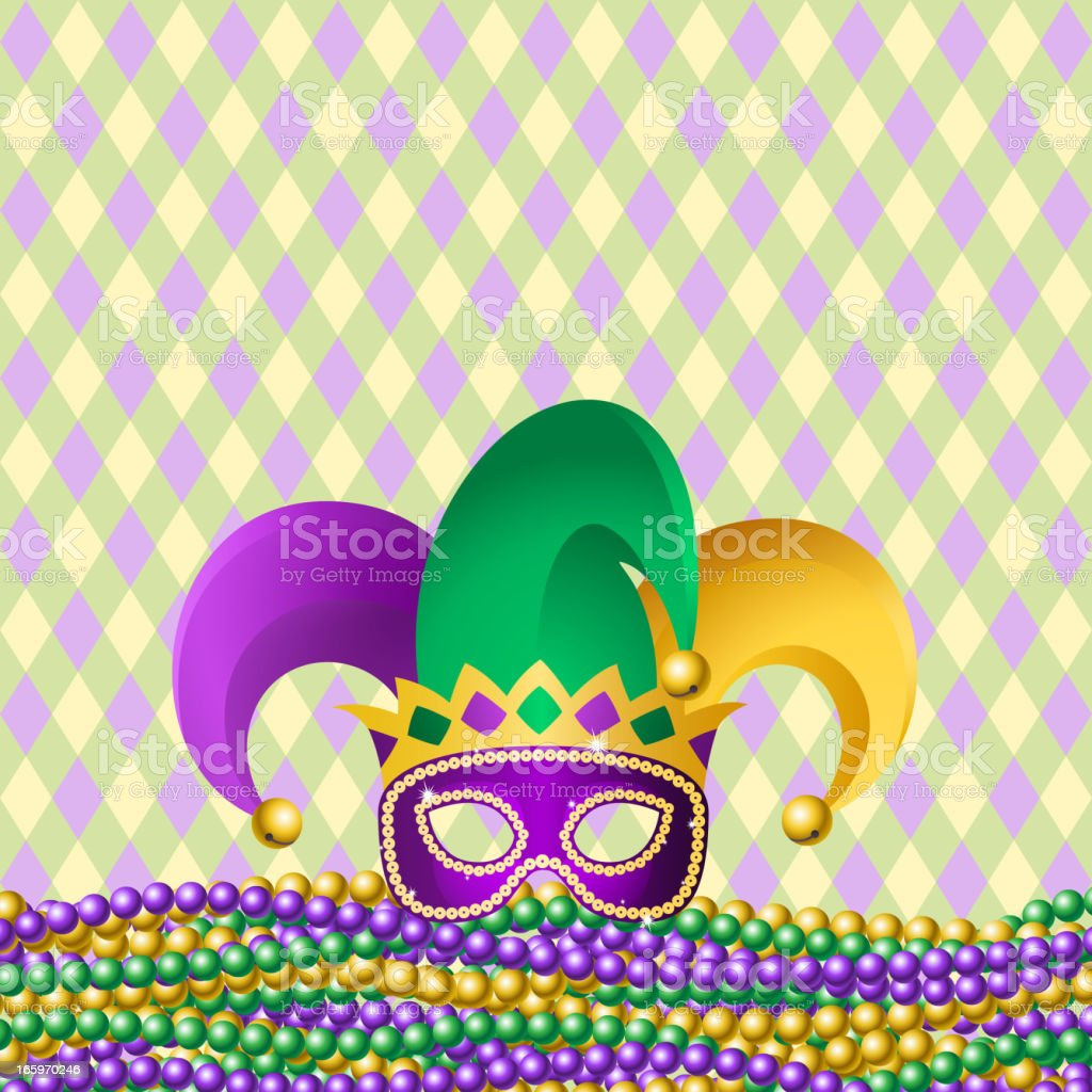 Jester Hat & Beads vector art illustration