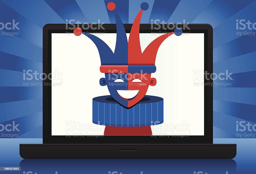 Jester laptop vector art illustration
