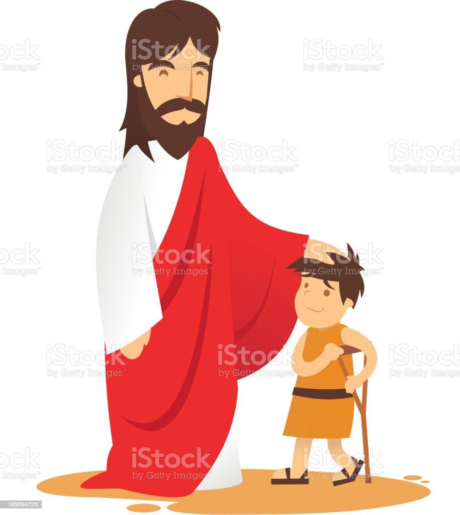 Jesus and ill boy vector art illustration