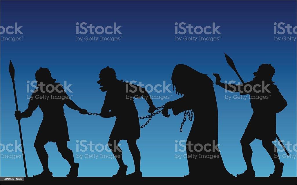 Jesus' arrest vector art illustration