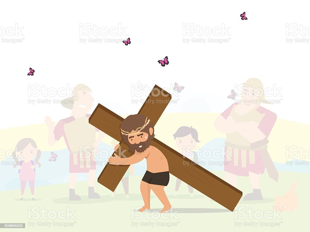 jesus bring cross vector art illustration
