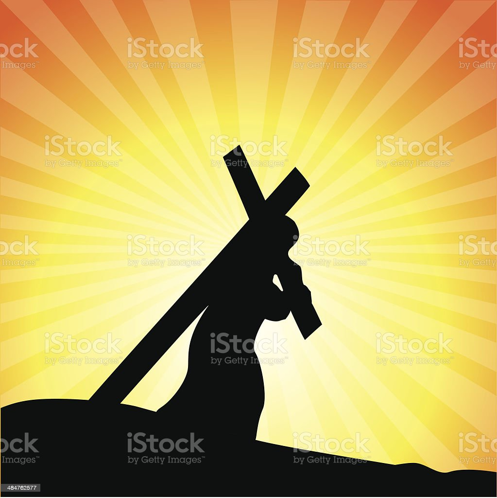 Jesus carrying His cross, Good Friday royalty-free stock vector art
