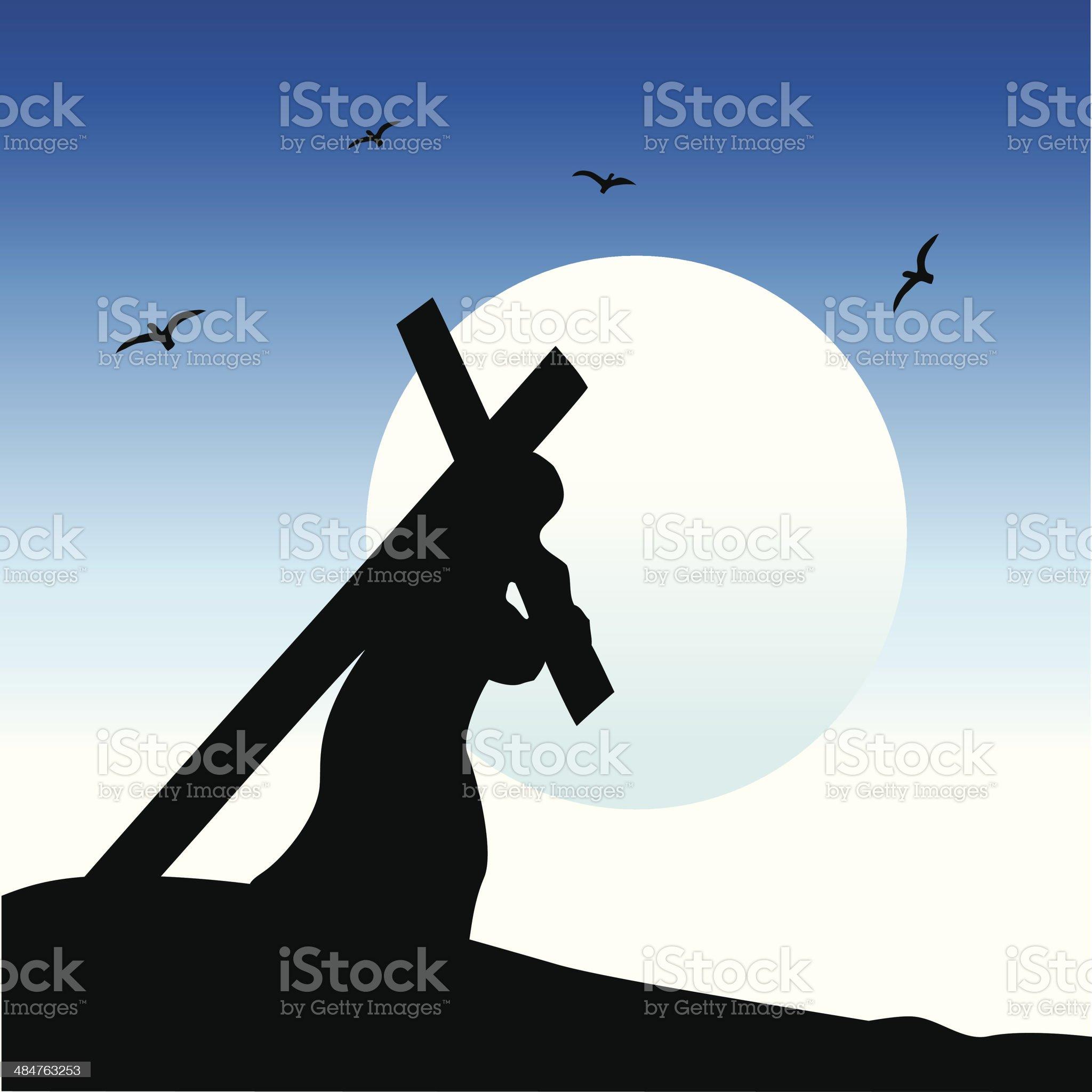 Jesus carrying His cross royalty-free stock vector art