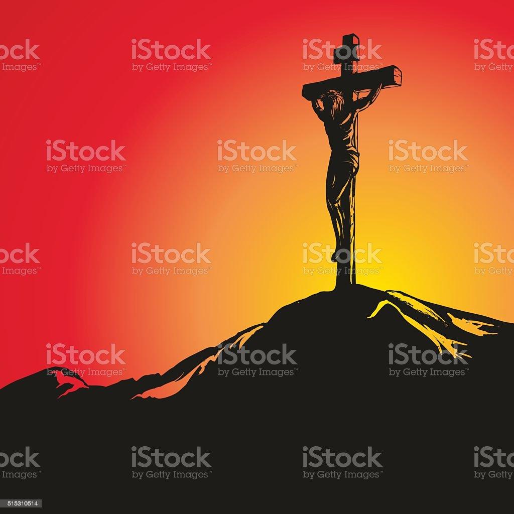 Jesus Christ Crucifiction hand drawn vector llustration vector art illustration