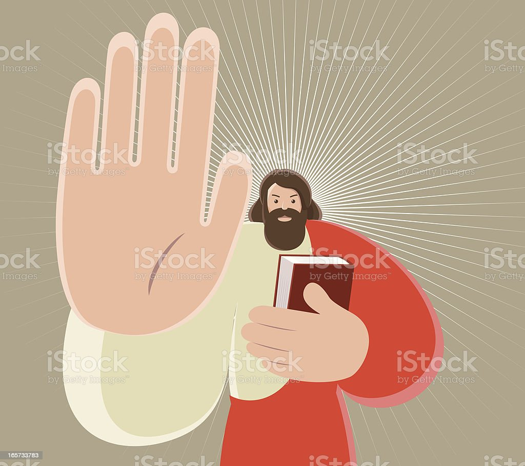 Jesus Christ Holding Bible And Gesturing Stop Hand Sign vector art illustration