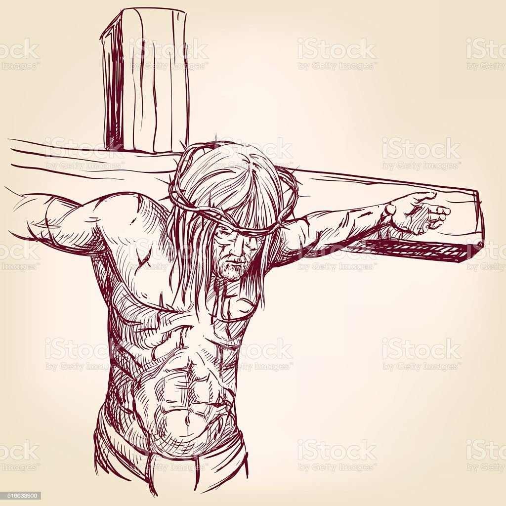 Jesus Christ in a crown of thorns on his head vector art illustration