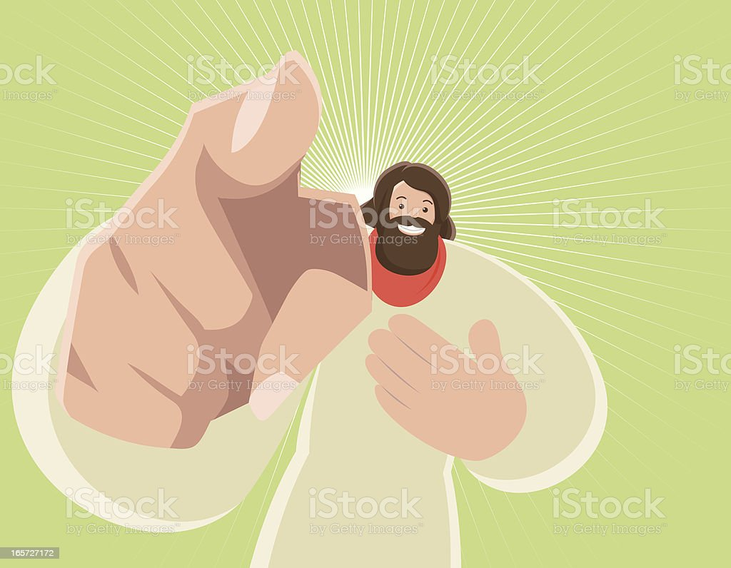Jesus Christ Pointing At You vector art illustration