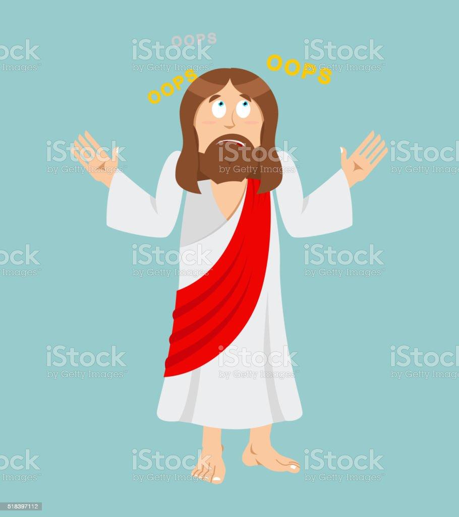 Jesus Christ. Surprised Jesus. Perplexed Jesus of Nazareth. Jesu vector art illustration