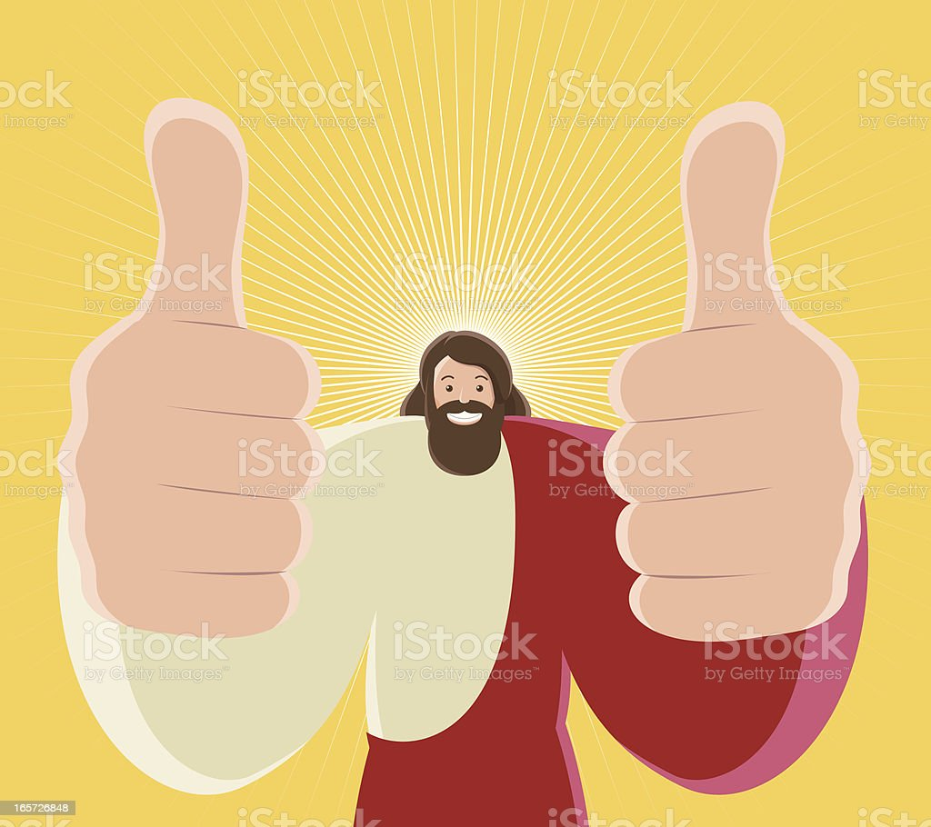 Jesus Christ Thumbs Up And Toothy Smile vector art illustration