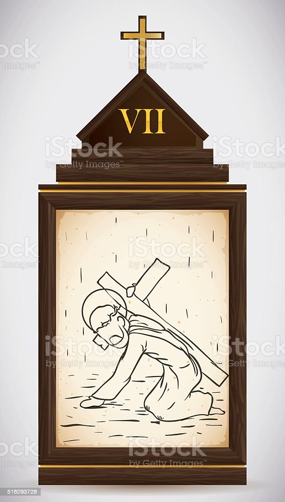Jesus Falls the Second Time vector art illustration