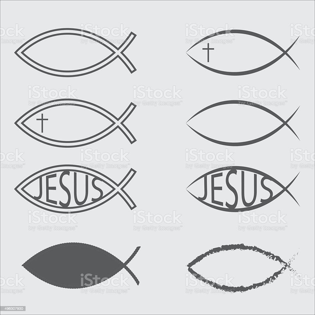 Jesus Fish Icons vector art illustration