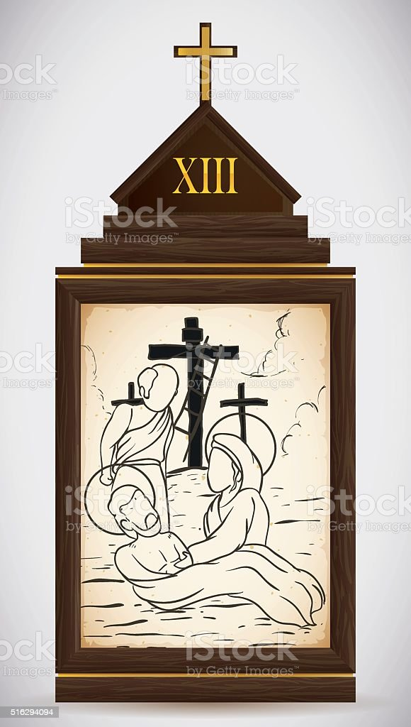 Jesus is Taken Down from the Cross vector art illustration