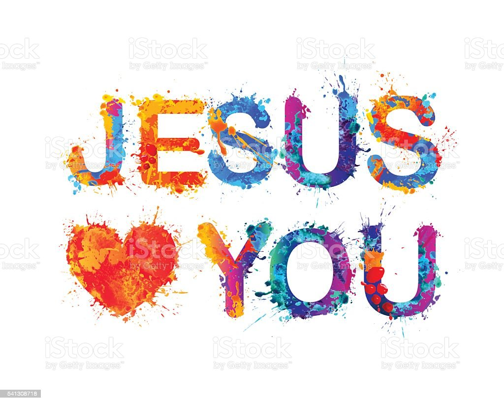 Jesus loves you vector art illustration