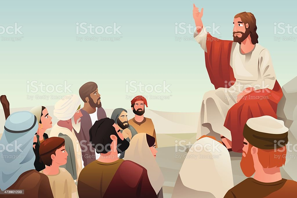 Jesus spreading his teaching to people vector art illustration