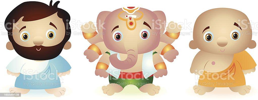 Jesus, Vishnu, Buddha Vector royalty-free stock vector art