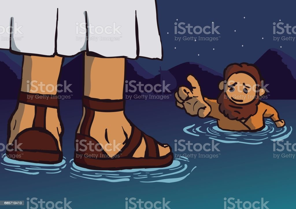 Jesus walking on the water vector art illustration
