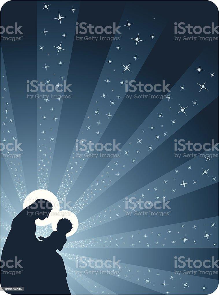 Jesus y Maria - Nativity scene vector art illustration