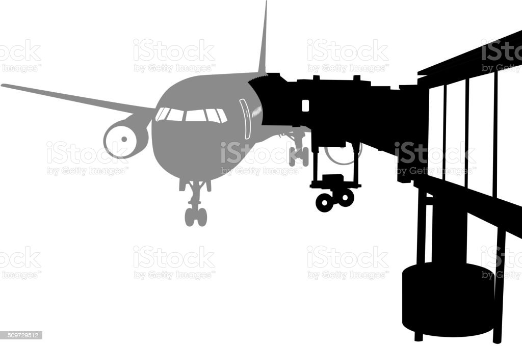 Jet airplane docked in Airport. Vector illustration. vector art illustration
