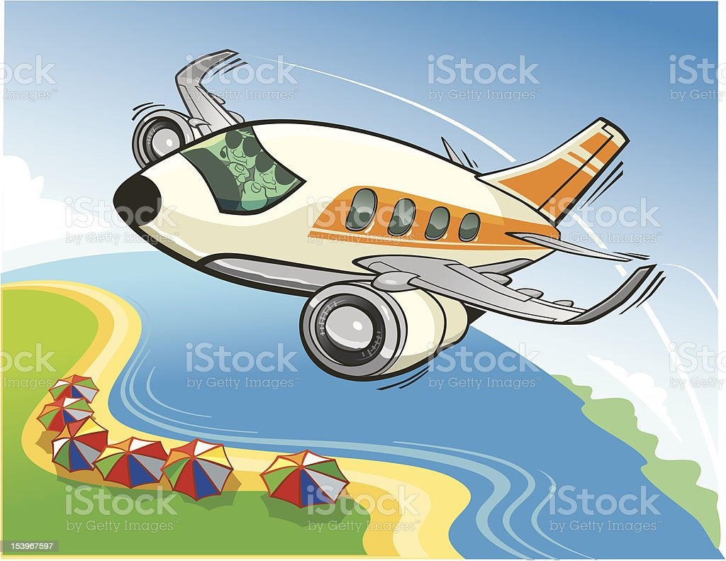 Jet Airplane Flying royalty-free stock vector art
