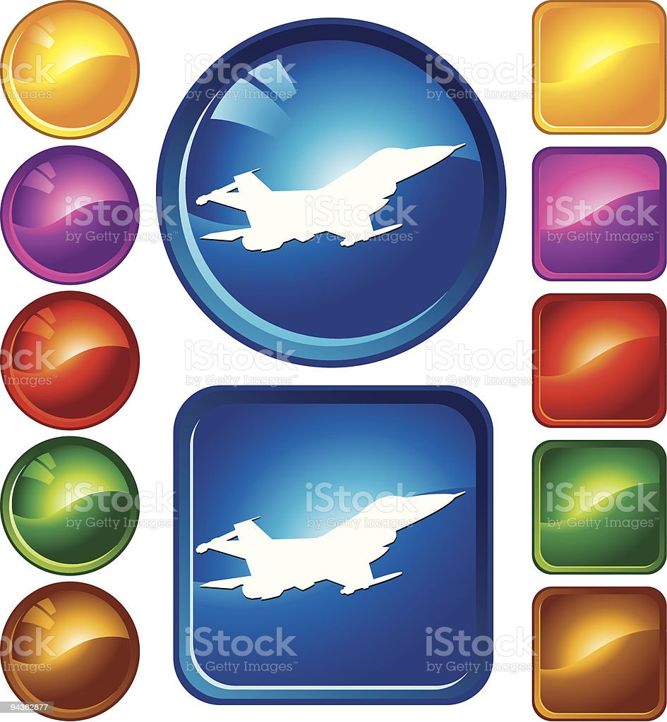 Jet Airplane Icons royalty-free stock vector art