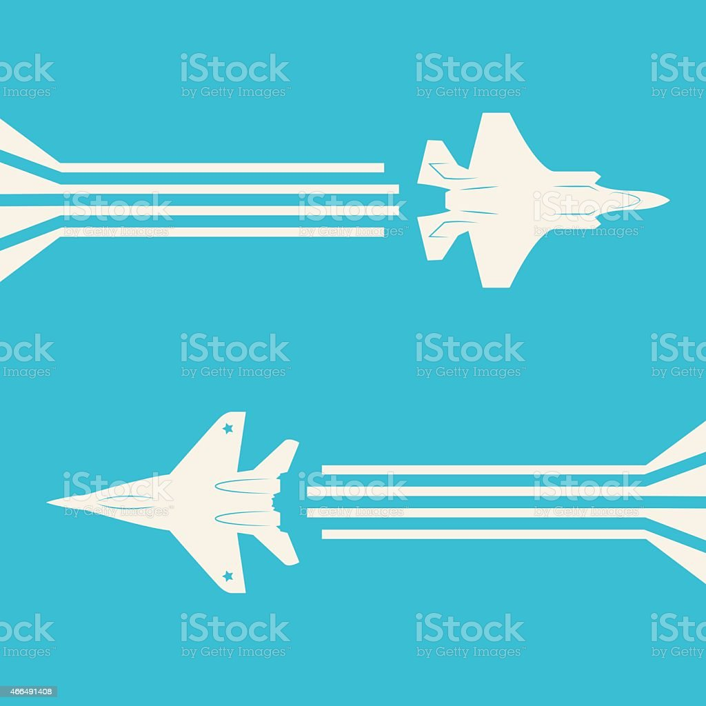 Jet fighter aircrafts vector art illustration